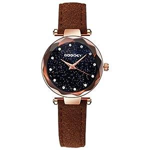 Hffan Damen Gypsophila Sternenhimmel Retro Uhr mit Lederband Quarzuhr Frauen Freizeituhr Runde Tabelle Handschmuck Armband Uhren Steinmuster Damenuhr
