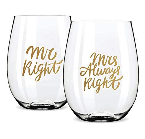 Gifffted Mr Right Und Mrs Always Right Weinglas-Set für Paare, Verlobungsgeschenke Weingläser, Witzig Geschenk, Hochzeitsgeschenke für Brautpaar, Weihnachten, Hochzeitstag Tassen, Weihnachtsgeschenke
