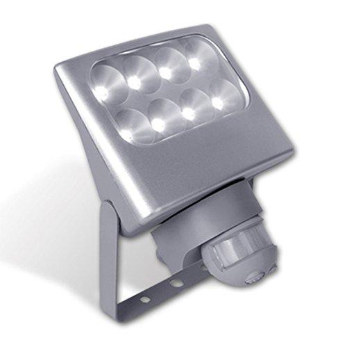 Eco Light Funktionaler LED-Außenwandstrahler Negara mit Bewegungsmelder, 1540 lm, 24 W, silber 6170 SI PIR