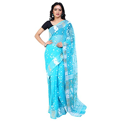 Tanya Cool Blue Soft Muslin Jamdani Saree with White Floral Pattern