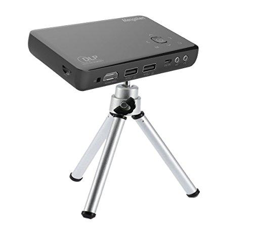 Mengshen® DLP Beamer Wiederaufladbar Mini HD 1080P LED Handy Projektor 30000 Stundens Hightech USB VGA AV IR SD LCD Projektoren Home Cinema TV Video Kurzdistanz Camping Ausflug MS-GP1SBlack (Für Pal Tv-tuner Pc)