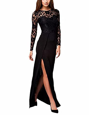 Xiaotiantian Women's Thigh High Slit Long Sleeve Maxi Dress , black-one-size , black-one-size
