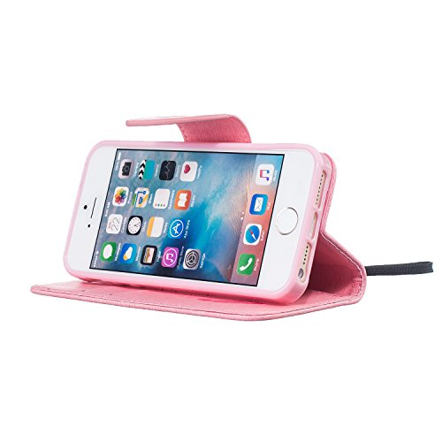 iPhone 5 Hülle, iPhone 5s Hülle, iPhone SE Hülle, LuckyW PU Leder Feder Vogel Where There is a Life There is a Hope Freedom Muster Hülle für Apple iPhone 5 5S SE TPU Soft Rückseite Abdeckung Ledertasc Rosa