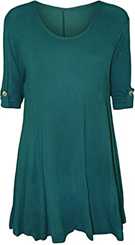 Womens Plus Size Scoop Neck Short Sleeve Flared Ladies Long Plain Top - Teal - 22/24