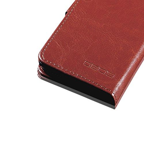 IPhone 7 Plus Case Cover - GBOS® Braun Antik Reich Leder Tasche Flip Case stehen mit Bildschirmschutz Brown