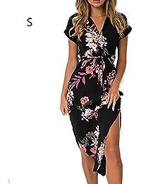 c9d4b8d49fd Là Vestmon Vestido Largo Mujer Estampado de Flores Maxi Boho Verano con  Cuello en V Casual para Verano Sundrss Maxi vestid para…