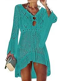 Jinsha Gestrickte Bikini Cover Up Strandponcho Strandkleid für Damen Sommer Pareos
