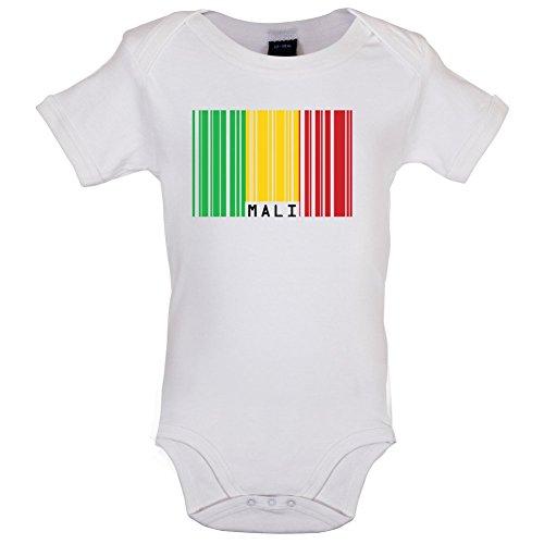 Dressdown Mali/Republik Mali Barcode Flagge - Lustiger Baby-Body - Weiß - 12 bis 18 Monate -