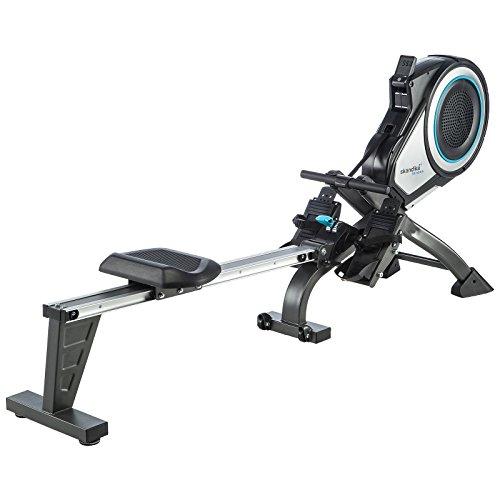 Skandika Fitness skandika Elite Pro - Rameur à air Pliable avec Ceinture Cardio - 8 Niveaux de résistance- Max. 130 kg Noir/Gris