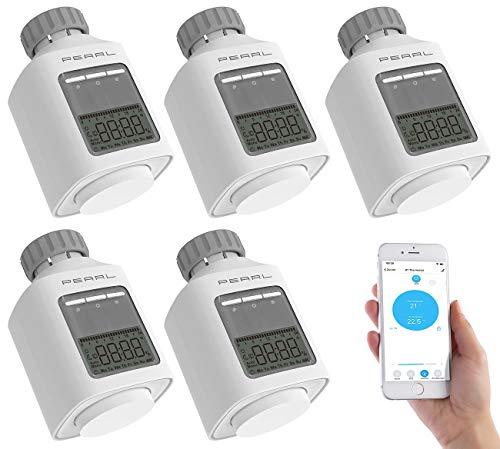 PEARL Öko-Heizungsthermostat: 5er-Set Programmierbares Heizkörper-Thermostat mit Bluetooth & App (Energiespar-Heizkörper-Thermostat)