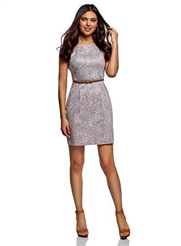 oodji Ultra Damen Tailliertes Ärmelloses Kleid, Grau, DE 42 / EU 44 / XL -