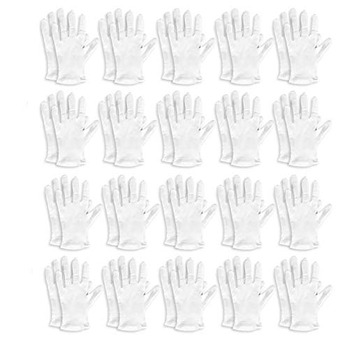 Lot de 20 Paires de Gants de Travail en Coton Blanc pour Homme et Femme