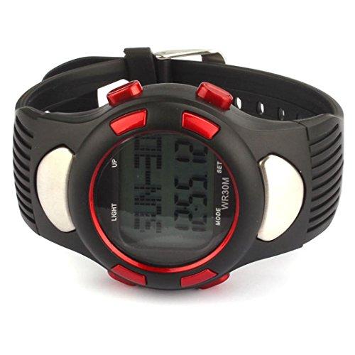 FEITONG nuovo fitness 3d pedometro calorie counter Guarda impulsi cardiofrequenzimetro (Rosso)