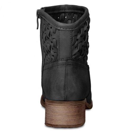 CASPAR Damen Vintage Stiefeletten mit Loch / Flechmuster und kurzem Schaft - 3 Farben Schwarz