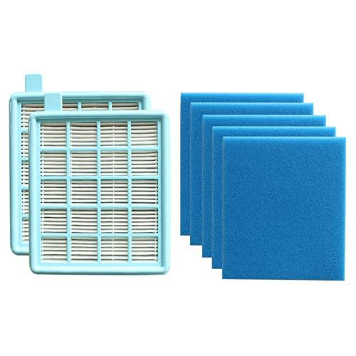 Serie 2 Ersatz (Xingsiyue Filternetz+Filterschwamm für Philips FC847/863/952 Series - Ersatz Staubsauger 2 * HEPA Filternetz+5 * Filter Baumwolle Schwamm Kit)