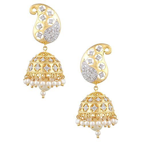 swasti Jewels Damen-American Diamant CZ Fashion Schmuck Traditionellen ethnischen jhumkas Ohrringe Gold