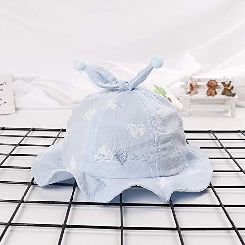 zhuzhuwen Cat Top Doppelkugel Kappe Spitze Kind Hut Kind Visier Baumwolle Baby Hut Exquisite Waschbecken Kappe - Himmelblau 48-50cm Geeignet für 3-12 Monate