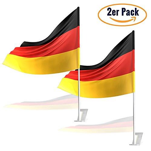 Deutschland Fanartikel Fußball WM 2018 | hochwertiges 2er Set Autofahne | Autoflagge mit extra stabiler Halterung