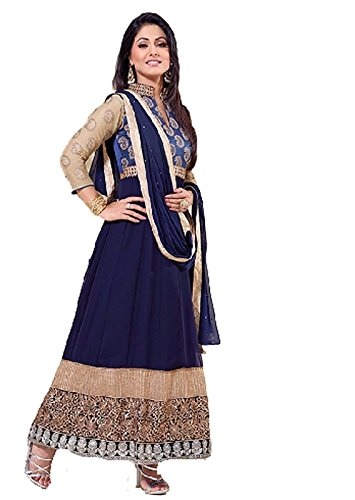 FebForrest Womens\'s Blue Georgette Attractive Indo-Western Dress Materials/Salwar Suit (Free Size) [SDM 25 (FF_A1)]