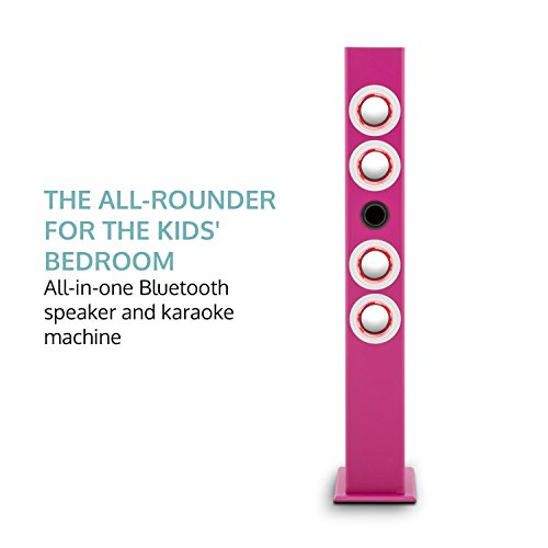 oneConcept Tallgirl • Karaoke Anlage • Karaoke Player • Karaoke Set • Turmlautsprecher • vier Breitbandlautsprecher • Bassreflex • Bluetooth • 2 x Kabelmikrofon • 1000 mAh Akku • Radio-Tuner • USB-Port • MP3-fähig • AUX-IN • LED-Effektbeleuchtung • pink - 3
