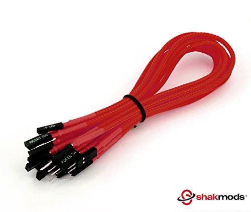 shakmods 30cm Front Panel Rot Ärmeln Power Reset HDD LED Lautsprecher +–Verlängerungskabel