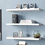 Dime Arts Shoppee Wall Mounted White Floating Shelves Set of 3 Decorations,Books,Photos,Potted Plants (White)