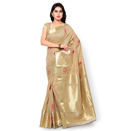 Varkala Silk Sarees Blended Saree (Mcjb5008Cmrn_Beige & Pink)