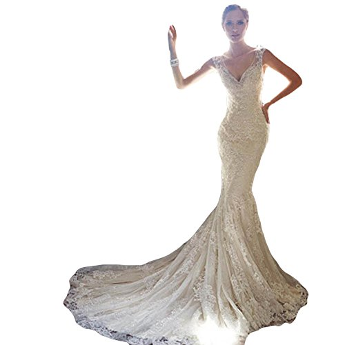 Wewind Damen Hochzeitkleindung Brautkleid V-Aussschnitt Rückfrei Elegant Ärmelos Brautkleid...
