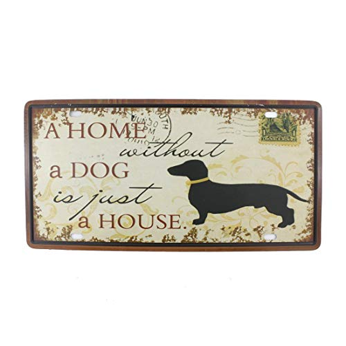 cm Vintage Feel Rustikales Haus-, Badezimmer- und Bar-Wanddekoration, Auto-Kennzeichen, Souvenir aus Metall (Florida B10 ASP), A Home Without a Dog is Just a House, 6x12 Inches ()