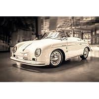 Leinwand Bild Porsche Silber Oldtimer 356 911 Cabriolet
