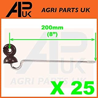 APUK 25 x Offset Long Distance Ring Screw Insulators Electric Fence Poly wire Rope