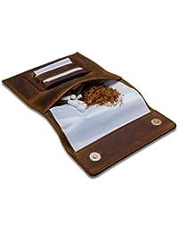 Indian Pearl Tabaktasche mit Geschenkbox, Echtes Leder, Extratasche mit Metallreißverschluß, Double-Paper-Slot, Magnetverschluß, Filterfach, Tabak-Beutel, Drehertasche