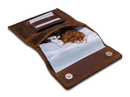 Indian Pearl Tabaktasche mit Geschenkbox, Echtes Leder, Extratasche mit Metallreißverschluß, Doppel-Blättchenfach, Magnetverschluß, Filterfach, Dunkelbraun, Tabak-Beutel, Drehertasche