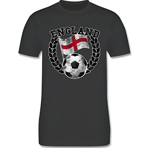 EM 2016 - Frankreich - England Flagge & Fußball Vintage - Herren Premium T-Shirt Dunkelgrau