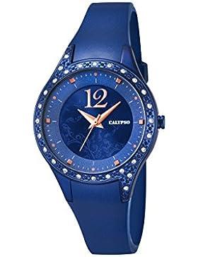 Calypso Damen Quarzuhr mit Blau Zifferblatt Analog Display und Blau Kunststoff Gurt K5660/6