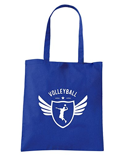 T-Shirtshock - Borsa Shopping SP0150 Volleyball Winged Maglietta Blu Royal