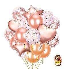 Idea Regalo - ARZOPA Palloncini Decorazioni per Festa,55 Pezzi Oro Rosa e Arancione di Lattice,Coriandoli,a Forma di Cuore e Stella Palloncini per Compleanno,Party,Matrimoni e Cerimonia Celebrazione