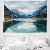 ABAKUHAUS Panorama Tappeto da Parete e Copriletto, Alpino Lago con Il Cielo Drammatico La Foresta e Le Montagne Viaggio Arte, per la Camera da Letto, 150 x 110 cm, Multicolore