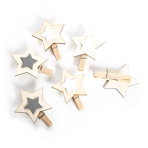 6 Stück kleine grau weiß natur Holzsterne Sterne Holz Holzklammer Deko-Klammer Zier-Klammer Weihnachten Weihnachts-Deko 6 cm Wäscheklammern Clips weihnachtliche Verpackung Geschenkanhänger