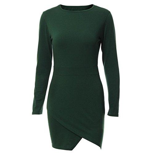 Tefamroe Frauen unregelmäßige Langarm Schulter Bodycon Kleid Damen Party Abend Minikleid Grün
