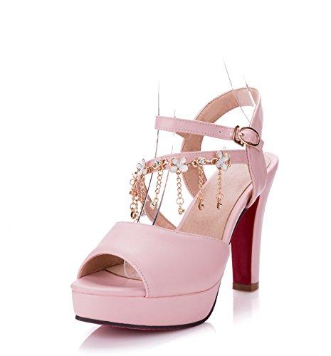 Sommer Damen Mode Sandalen komfortable High Heels pink 10.5cm heels