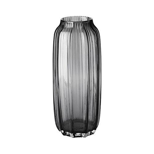 CASAMOTION Vase Handgefertigte Faltige Vase aus Glas Optische Dekovase,Kante Blumenvase,Geschenkbox,Grau,12,5×12,5×31cm Glas Geblasen Vase