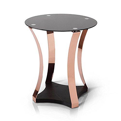 Beistelltisch in goldener Rosenfarbe (Glas-wohnzimmer-akzent-tabelle)