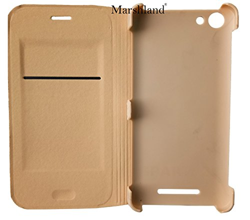 Marshland® Micromax Canvas Spark 2 Plus Q350 Flip Cover Golden Colour Professional Leather Flip Case Cover Protect your valuable Core from daily scratch and Dirty Easy access to almost all vital slots Perfect Fit Extra Grip Flip Cover For Micromax Canvas Spark 2 Plus  available at amazon for Rs.299