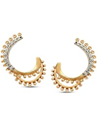 Mia By Tanishq 14KT Yellow Gold And Diamond Hoop Earrings For Women