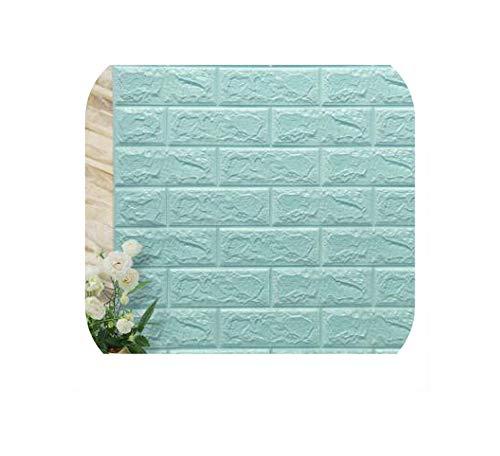 Strawberryran Decorative Tiles 3D Pe Foam Stone Wall Stickers Art Kids Safty Self-Adhesive Wallpaper,Light Blue,70Cm X 38Cm