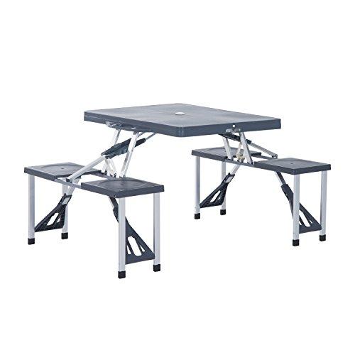 Outsunny® Alu Campingtisch Picknick Bank Sitzgruppe Gartentisch mit 4 Sitzen klappbar Schwarz - Picknick-tisch