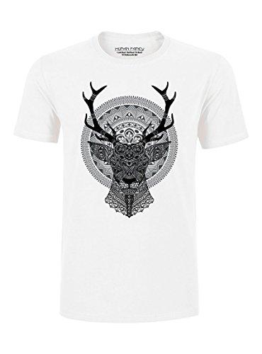 Human Family - Schweres Herren T-Shirt aus 100% Bio-Baumwolle mit Hirsch Print White