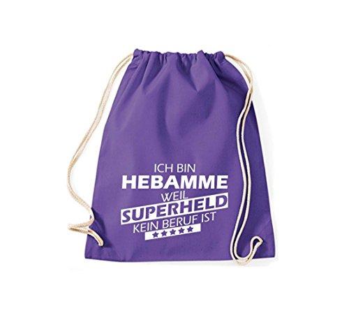 Shirtstown Sac de sport Ich bin Sage-femme, parce que Superheld aucun Occupation est purple