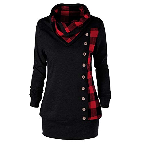 (Yvelands Mode Damen drehen unten Kragen Button Plaid Patchwork Sweatshirt Top Bluse)